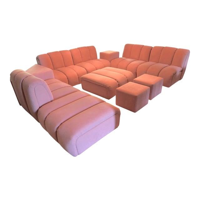 Vintage Glam Mid-Century Modular Tubular Brutalist Pink Sectional Sofa--11 Piece Set For Sale