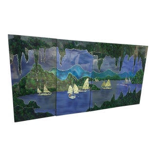 Vintage Lake Scene Four Piece Hanging Wall Art For Sale