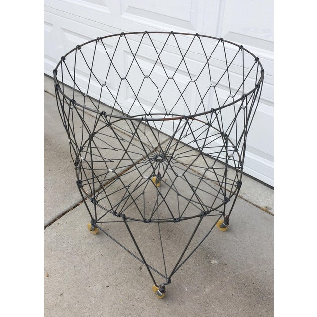 American Vintage Industrial Collapsible Wire Laundry Basket on Casters For Sale - Image 3 of 13
