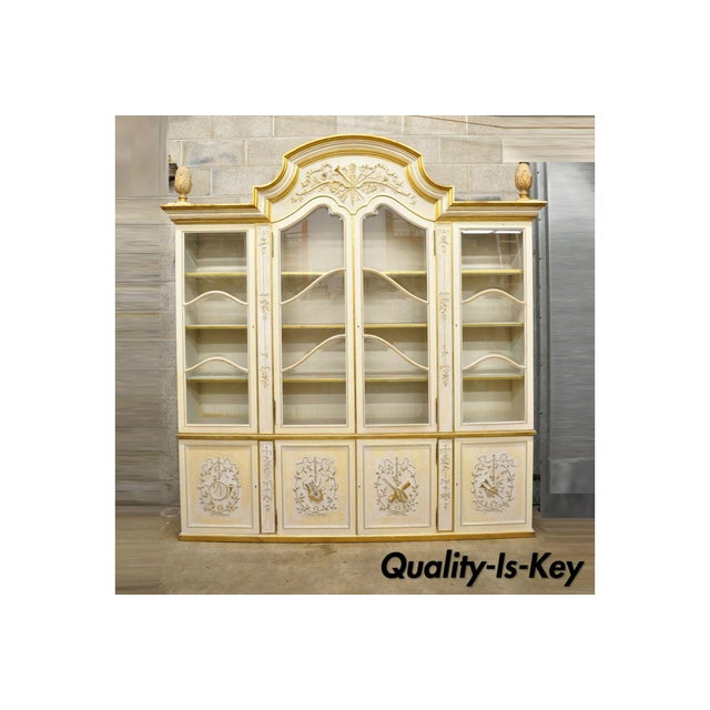 Italian Regency Cream and Gold Gilt Breakfront China Cabinet For Sale - Image 13 of 13