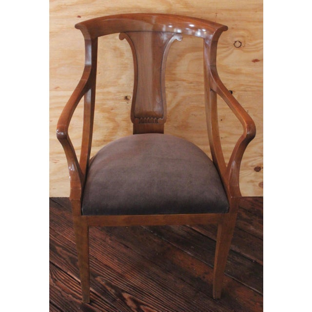 """Four """"Chaise en Gondole"""", empire style fruitwood dining chairs, mid 20th c., newly upholstered dark warm grey velvet..."""