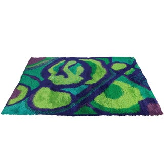Large Mod Abstract Scandinavian Rya Rug For Sale