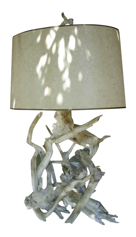 Perfect A Rare Quartz Crystal Embedded Driftwood Lamp   Image 1 Of 8