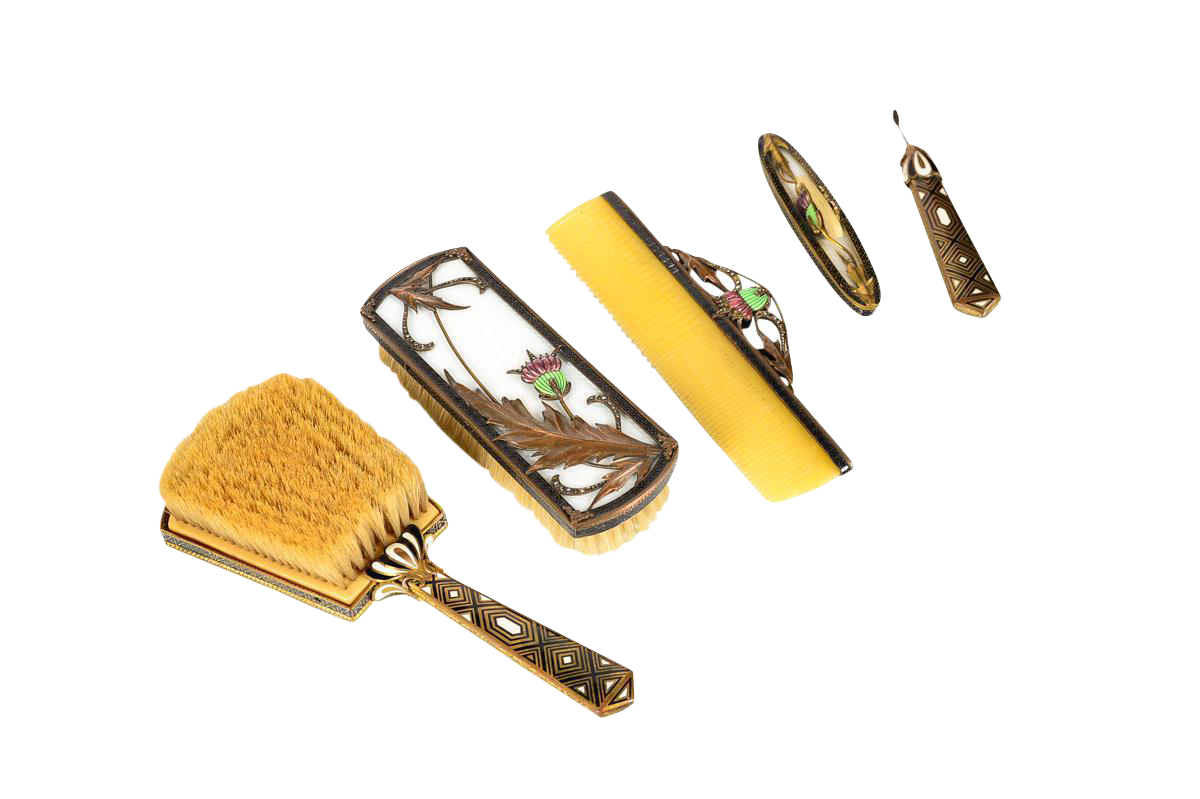 Art Deco Bronze U0026 Enamel Vanity Set