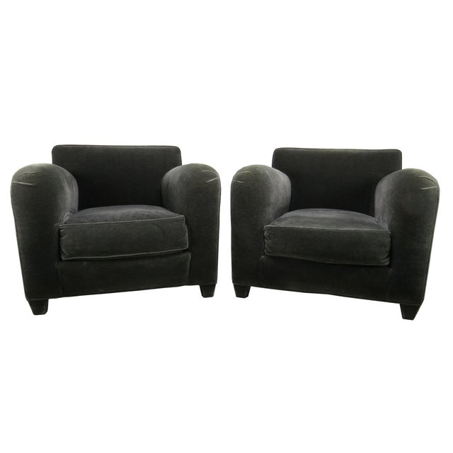 1980s Donghia Art Deco Style Gray Mohair & Down Club / Lounge Chairs - a Pair For Sale - Image 13 of 13