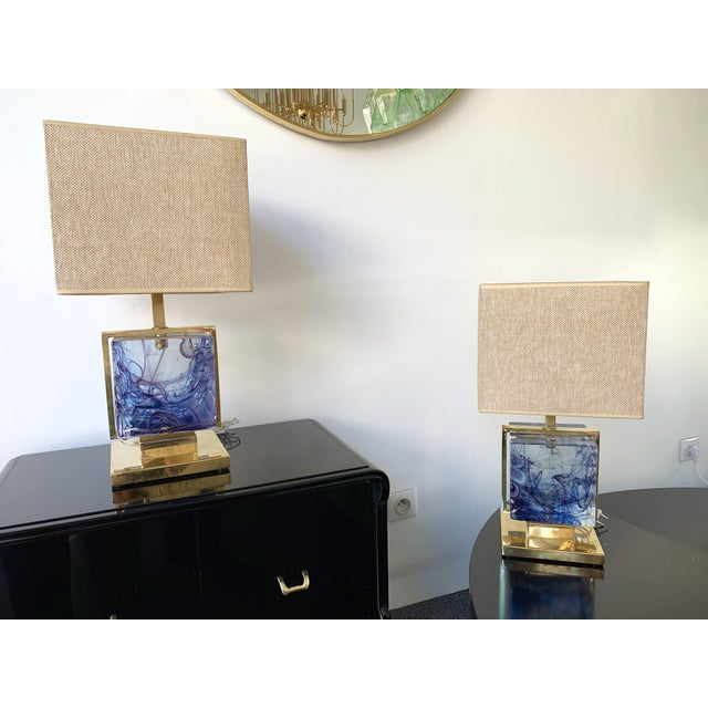Contemporary Pair of Lamps Brass Cage Murano Glass Cube, Italy For Sale - Image 4 of 11