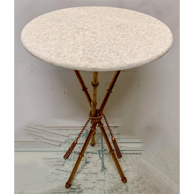 Italian Gilt Faux Bamboo Metal and Marble Side Table For Sale - Image 4 of 7