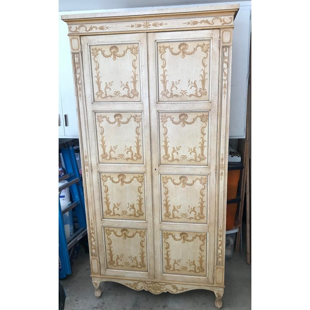 Vintage Baker Furniture Co. Painted Wardrobe Armoire For Sale - Image 13 of 13