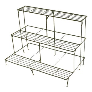 English Three-Tiered Rectangular Plant Stand of Painted Steel for the Garden For Sale