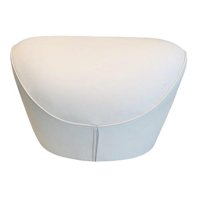 Edito Modernist White Leather Ottoman by Roche Bobois For Sale