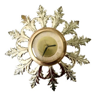 Mid Century Gold Clock For Sale