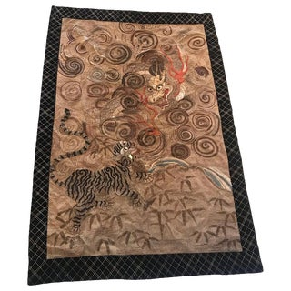 Late 19th Century Japanese Hand Needlework Tapestry For Sale