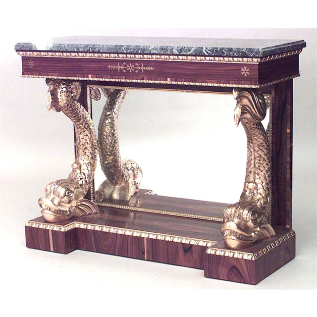 Pair of English Regency Style Rosewood Console Tables For Sale - Image 4 of 4