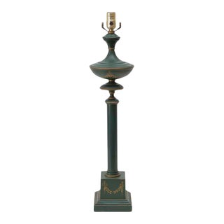 French Green Tole Column Form Table Lamp