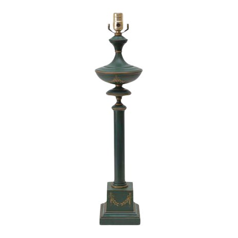 French Neoclassical Green Tole Column Table Lamp For Sale