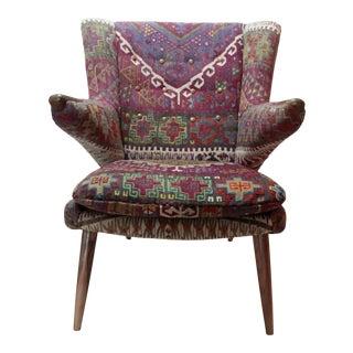 Turkish Kilim Upholstered Armchair For Sale