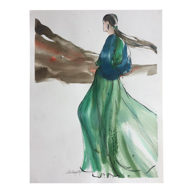 Vintage Original Fashion Watercolor Painting - Image 1 of 5