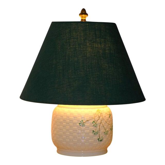 Irish Belleek Basketweave Shamrock Pattern Lamp with Original Linen Shade For Sale