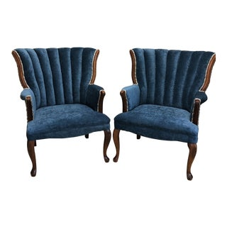 Vintage Blue Velvet Channel Back Chairs - A Pair