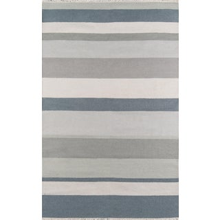 "Erin Gates Thompson Brant Point Grey Hand Woven Wool Area Rug 7'6"" X 9'6"" For Sale"