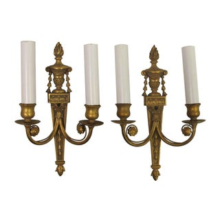 Antique Torchier Bronze 2 Arm Wall Sconces - a Pair For Sale
