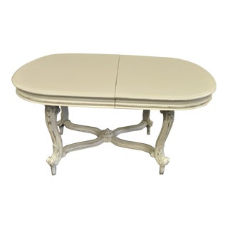 Painted Dining Table From Provence With Fine Hand Carved Details on the Legs and Base. For Sale