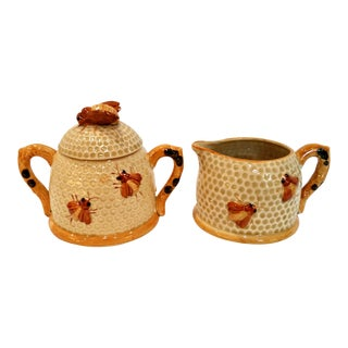 Vintage Mid-Century Honey Bee Honeycomb Sugar & Creamer Set - a Pair For Sale
