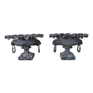 Pair of 19th Century French Cast Iron Garden Urns For Sale