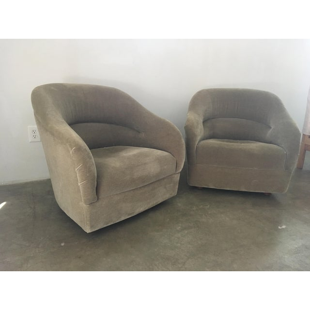 1980s Pair of Ward Bennett Mohair Club Chairs For Sale - Image 5 of 12