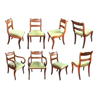 Set of Scottish Regency Dining Chairs of Mahogany, Two Arms and Six Side Chairs For Sale