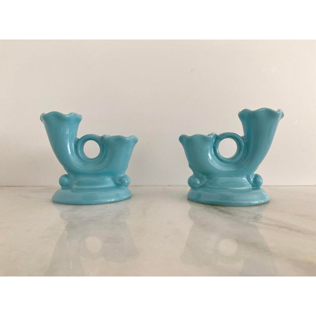 Ceramic 1950s Abingdon Aqua Blue Double Candlestick Holders - a Pair For Sale - Image 7 of 7