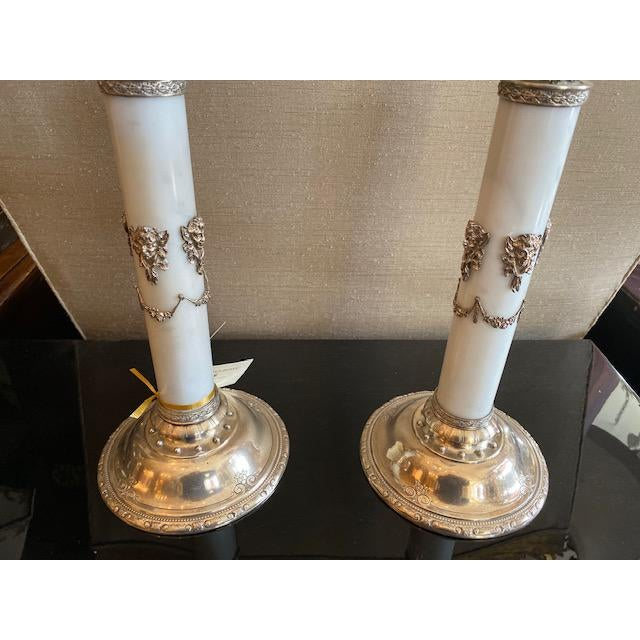 Metal 1900s - 1940s English Sterling & Marble Candles With Gargoyle Motif - a Pair For Sale - Image 7 of 13