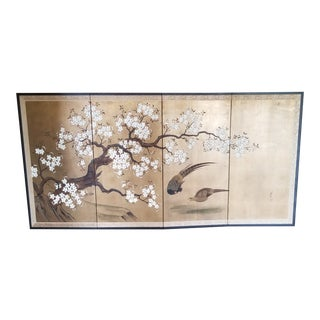 Antique Japanese Folding Screen For Sale