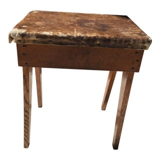 Antique Wooden Stool or Ottoman For Sale