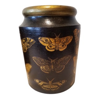 Late 19th Century Antique Pottery Jar With Butterfly Decoupage For Sale
