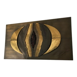 Vintage Brutalist Mixed Metal Wall Art For Sale