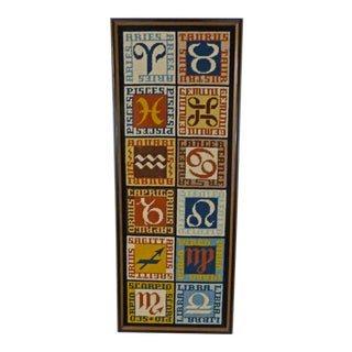 1970s Vintage Mid-Century Modern Zodiac Needlepoint Framed Wall Art For Sale