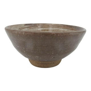 Japanese Studio Pottery Brown & Tan Swirl Tea Bowl by Nitomi Kanji Signed For Sale