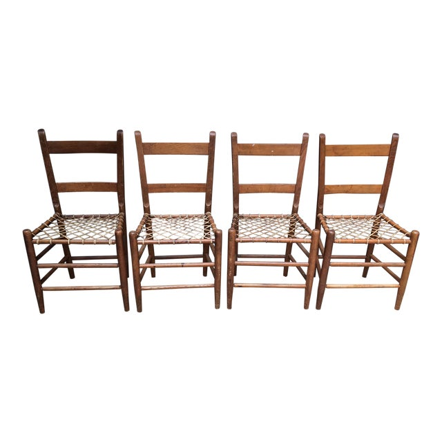 Early American Rawhide Ladderback Chairs - Set of 4 For Sale
