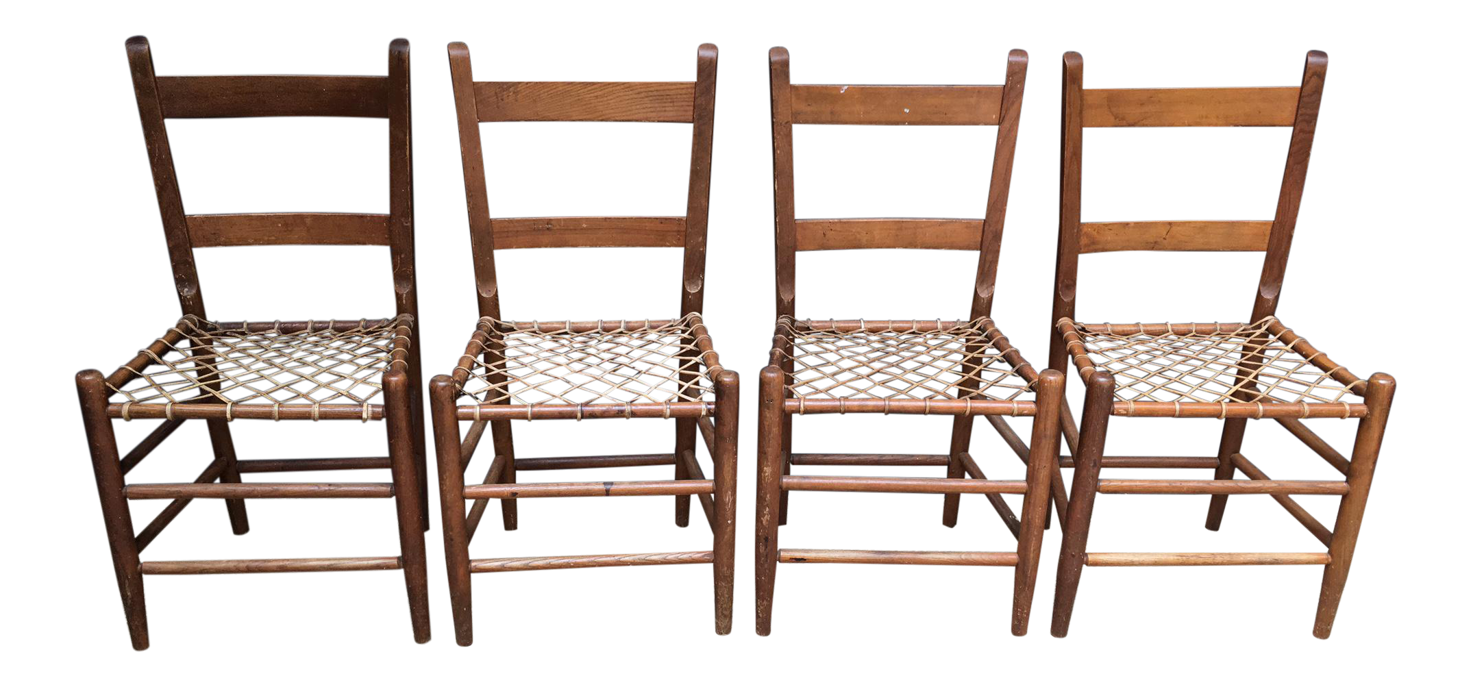 Early American Rawhide Ladderback Chairs   Set Of 4