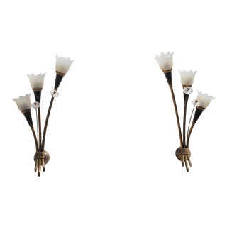 Monumental Pair Of French Art Deco Wall Sconces By Maison Lunel 1950's