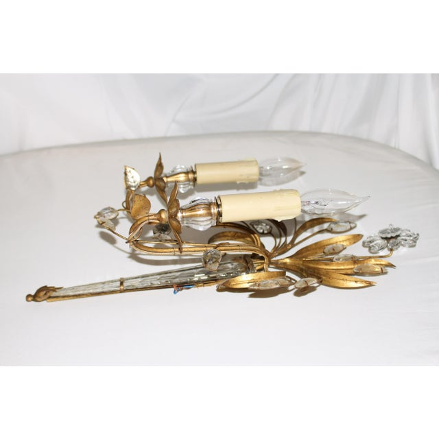 Baguès Mid Century French Glass & Gilt Metal Icicle Sconces - a Pair For Sale - Image 4 of 7