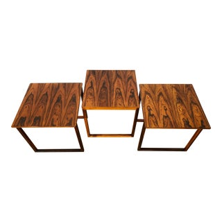 "Mid-Century Danish Kai Kristiansen Rose Wood ""Cube"" Nesting Tables for Vildbjerg - Set of 3"