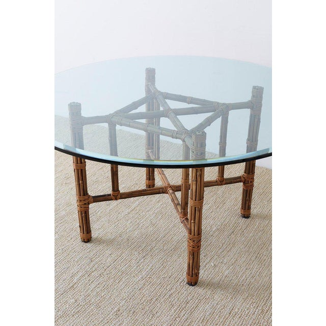 McGuire McGuire Organic Modern Bamboo Rattan Round Dining Table For Sale - Image 4 of 13