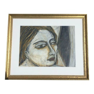 1989 Rebecca Raubacher, Abstract Portrait Oil Stick Drawing Framed For Sale