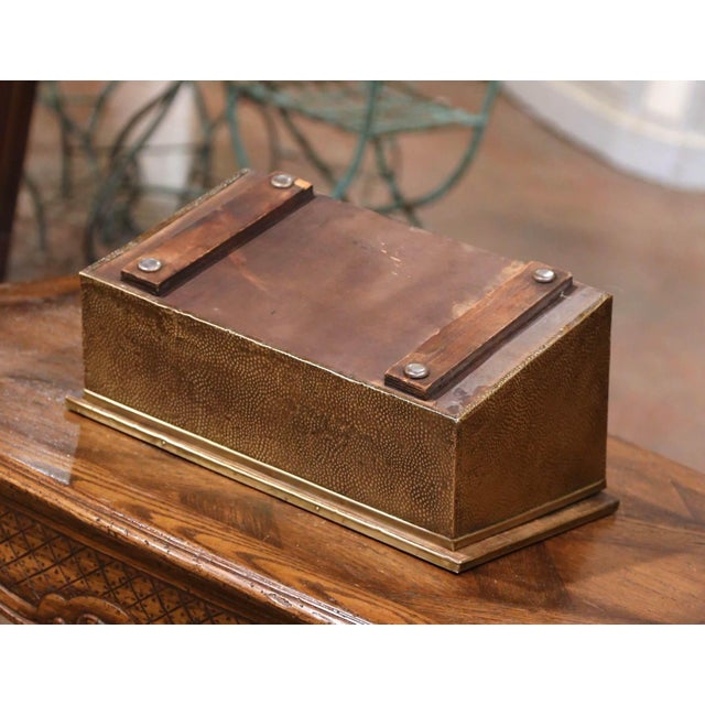 Metal Early 20th Century French Repousse Brass and Wooden Box With Sailboats Decor For Sale - Image 7 of 8