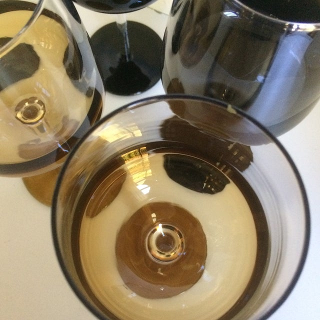 Mid-Century Modern Style Reverse Ombré Black & Amber Brown Wine Glasses - Set of 6 For Sale In Sacramento - Image 6 of 13