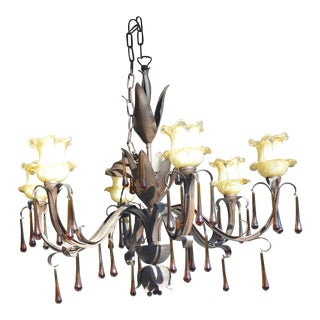 Large Brown Metal Slender Leaves Chandelier From Italy W/ Amber Murano Glass Drops & Yellow Tulip Glass Shades For Sale