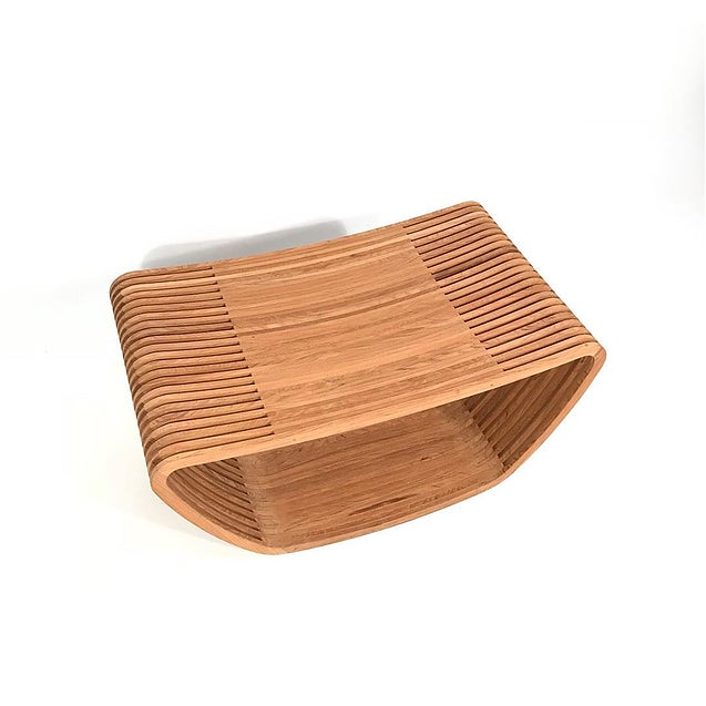 Hula Stool by Barber Osgerby for Cappellini. In solid teak