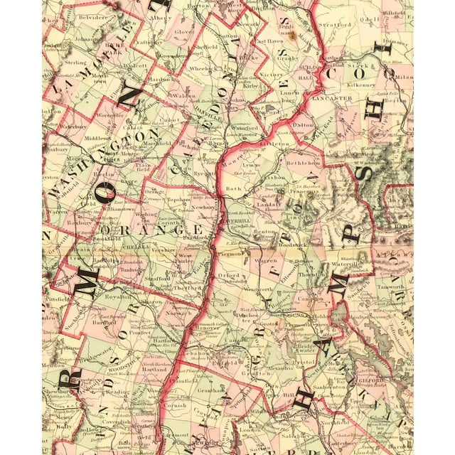 Antique map of New Hampshire and Vermont from 1861. Shows early counties, towns, and railroads. Original hand-coloring....
